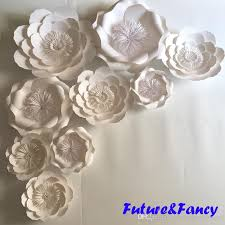White Paper Flower Garland Pure White Giant Paper Flowers For Wedding Backdrops Decorations