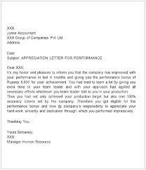 Performance Certificate Sample Appreciation Letter Sample For Good Performance Aapkirasoi Co
