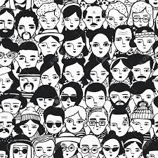 群衆別の人女と男の顔のシームレスなパターン肖像画のおしゃれな女の子や男にいたずら書きトレンディ