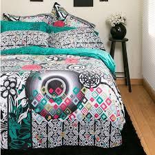 black white fl bedding by