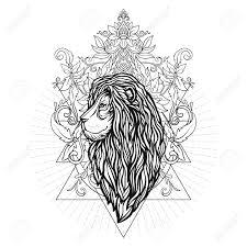 Vector Ornamental Lion Head With Sacred Geometry Hand Drawn Illustration Tattoo Astrology Alchemy Boho And Magic Symbol