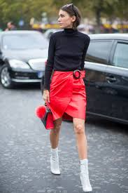 how to wear black turtleneck red leather pencil skirt white leather ankle boots