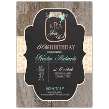 Rustic Chalk Mason Jar 60th Birthday Invitations Paperstyle