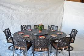 aluminum dining room chairs. Nassau Outdoor Patio 10pc Set Large Oval Dining Table Dark Bronze Cast Aluminum, Walnut Cushions Aluminum Room Chairs H