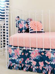 baby crib sheets for girls navy floral crib bedding baby girl bedding coral and navy