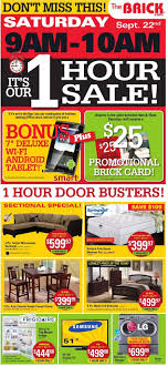 sale flyers the brick 1 hr sale flyer valid on sep 22nd 9am 10am