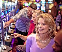 woman playing slots
