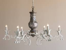 massive vintage french silvered wood and iron chandelier circa