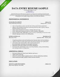 sample resume for data entry  seangarrette cosample