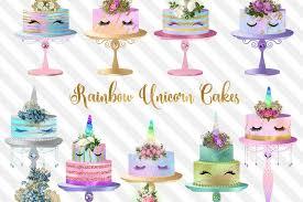 rainbow unicorn cakes clipart exle image 1