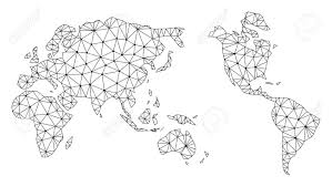 Polygonal Mesh Map Of Earth In Black Color Abstract Mesh Lines