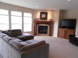minimalist image of living room decoration using built in fireplace modern image of living room