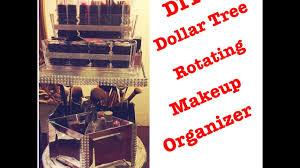 diy dollar tree glam spinning bling mirrored makeup organizer less than 11