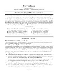 Construction Project Manager Resume Sample Construction Management Resume Sample General Contractor Resume 88