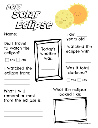 I didn't see it mentioned anywhere that it was black and white. 2017 Solar Eclipse Worksheet Printable The Suburban Mom