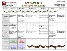 Printable Event Calendar December 2018 Events Gloversville Public Library