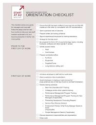 Staff Orientation Checklist Orientation Checklist