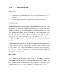 report drosophila genetics earth life sciences