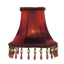 red silk bell clip chandelier shade with amber beads