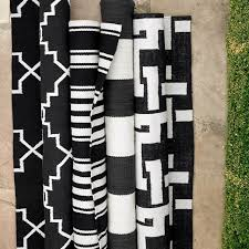 appealing black and white outdoor rug moroccan gate indooroutdoor rug black williams sonoma