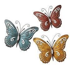 collections etc nature inspired metal butterfly decorative wall art trio hang indoors or outdoors on nature inspired wall art with amazon collections etc nature inspired metal butterfly