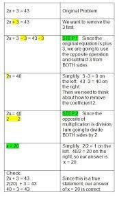 solving two step algebra equations