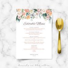 Wedding Buffet Menu Cards Floral Diy Template Wedding Dinner Etsy
