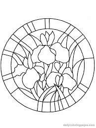 Stained Glass Coloring Pages Circle Flower Coloring Pages Flower ...