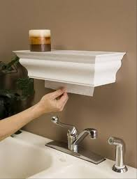 Simple Paper Towel Holder With Brown Wall Color And Modern Faucet ...