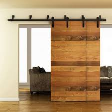 bypass barn door hardware. WinSoon 5-16FT Bypass Sliding Barn Door Hardware Double Rustic Black Track Kit New D
