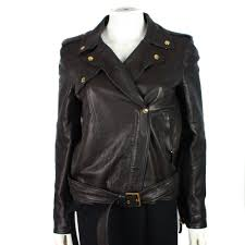 details about gucci women s leather jacket motorcycle belted moto gold it 38 us 2