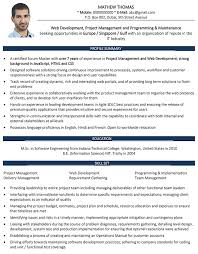 Web Developer Cv Format Web Developer Resume Sample And Template