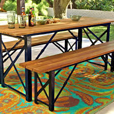 garden dining table with benches. peacoat beer garden dining table | garden, acacia wood and furniture set - deep navy blue steel frame a slatted surface with benches