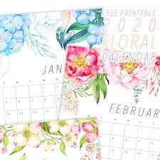 Calendars 2020 Free Free Printable 2020 Floral Calendar The Cottage Market
