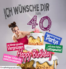 Glückwünsche Geburtstagskarte 40 Geburtstag Mit Torte
