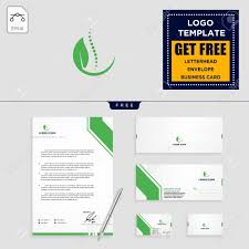 Stationery Letterhead Chiropractic Leaf Logo Template Vector Illustration And Stationery
