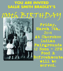 Sallie Smith Bradley birthday flyer - The Cherokee One Feather | The  Cherokee One Feather
