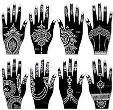 Generic 8 Pieces India Henna Tattoo Stencil Set For Women Girls Hand