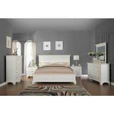 Laveno 012 White Wood Bedroom Furniture Set, Includes King Bed, Dresser,  Mirror,