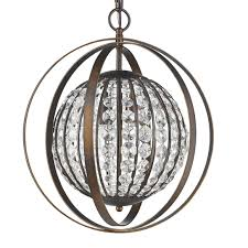 olivia oil rubbed bronze crystal sphere pendant light 16 wx19 h