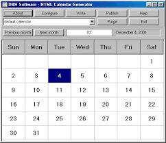 Calendar Generator Html Calendar Generator