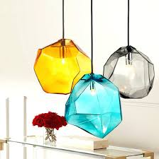 ceiling lights ice cube ceiling light crystal glass lighting pendant lamp polygon colorful 6 li