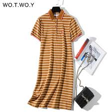 WOTWOY 2019 Striped Cat Embroidery Dresses Women Summer ...