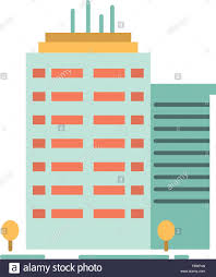 Office Banner Template Building Skyscraper Office Top Flat Color Icon Vector