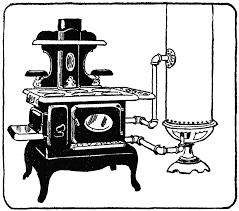 stove clipart. coal fueled water heater and stove clipart