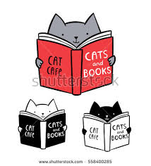 cute logo for cat cafe funny kitten reading book