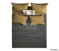 double bed top view. Contemporary Modern Double Bed With Pillows, Top View, Isolated On White Background, Gray View