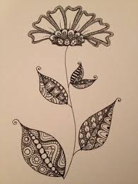 zentangle doodle flower with leaves inspired by an art deco pattern on an antique vase i came across in pinterest more art deco inspired pinterest