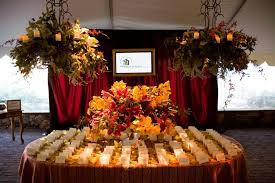 placecard table autumn party decor fl chandeliers red