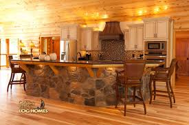 Kitchen And Home Interiors Log Home By Golden Eagle Log Homes Island Kitchen Stone Wood
